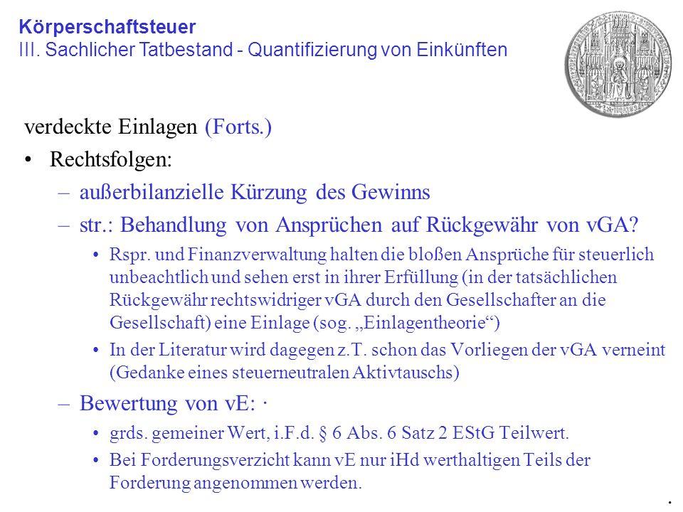 verdeckte Einlagen (Forts.) Rechtsfolgen: –außerbilanzielle Kürzung des Gewinns –str.: Behandlung von Ansprüchen auf Rückgewähr von vGA? Rspr. und Fin