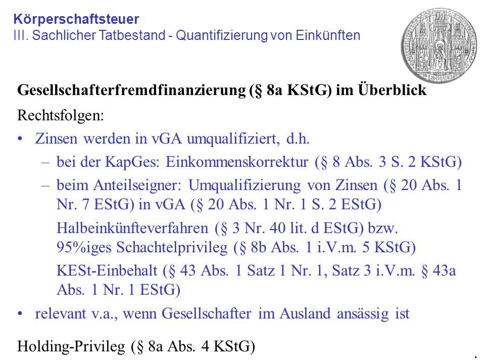 Gesellschafterfremdfinanzierung (§ 8a KStG) im Überblick Rechtsfolgen: Zinsen werden in vGA umqualifiziert, d.h. –bei der KapGes: Einkommenskorrektur