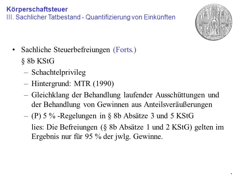 Sachliche Steuerbefreiungen (Forts.) § 8b KStG –Schachtelprivileg –Hintergrund: MTR (1990) –Gleichklang der Behandlung laufender Ausschüttungen und de