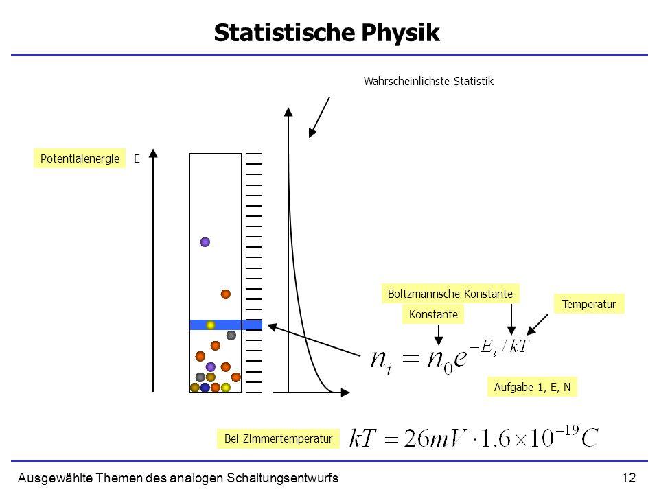 12Ausgewählte Themen des analogen Schaltungsentwurfs Statistische Physik EPotentialenergie Temperatur Boltzmannsche Konstante Konstante Bei Zimmertemp