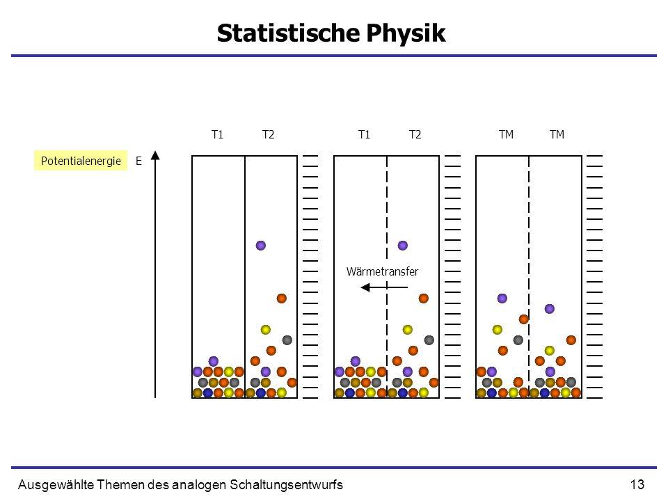 13Ausgewählte Themen des analogen Schaltungsentwurfs Statistische Physik EPotentialenergie T1T2T1T2TM Wärmetransfer
