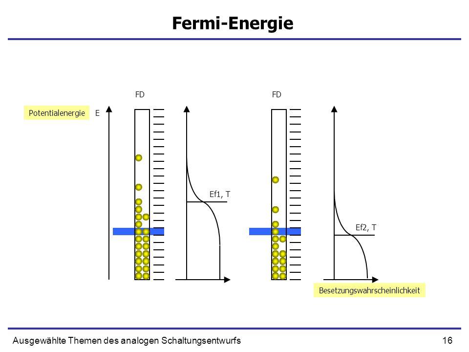 16Ausgewählte Themen des analogen Schaltungsentwurfs Fermi-Energie EPotentialenergie FD Ef2, T Ef1, T Besetzungswahrscheinlichkeit