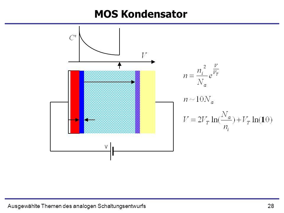 28Ausgewählte Themen des analogen Schaltungsentwurfs MOS Kondensator V