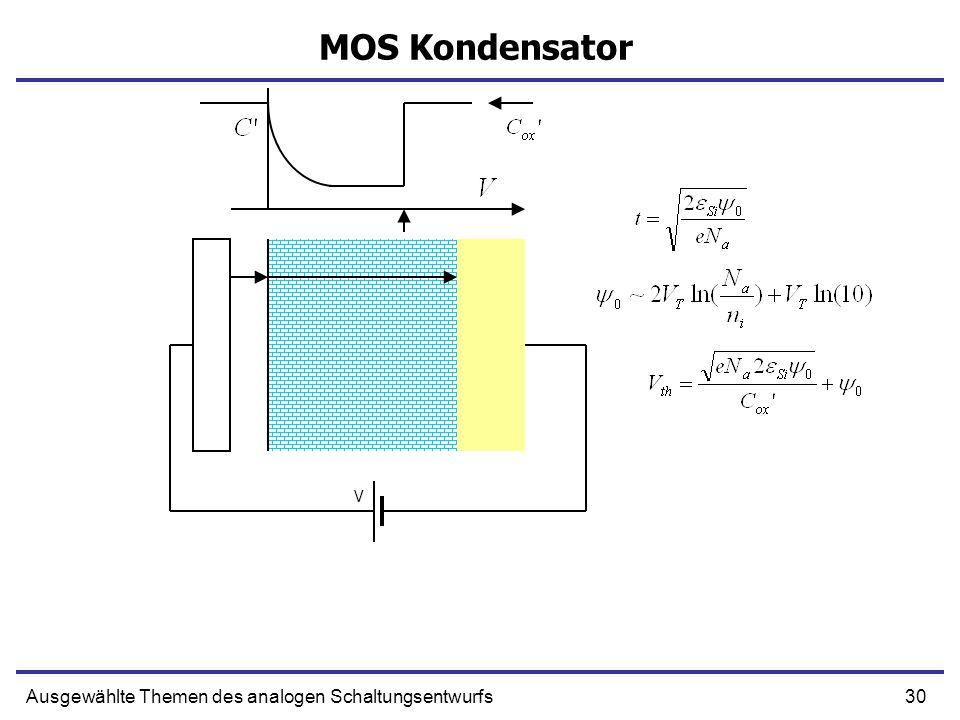 30Ausgewählte Themen des analogen Schaltungsentwurfs MOS Kondensator V