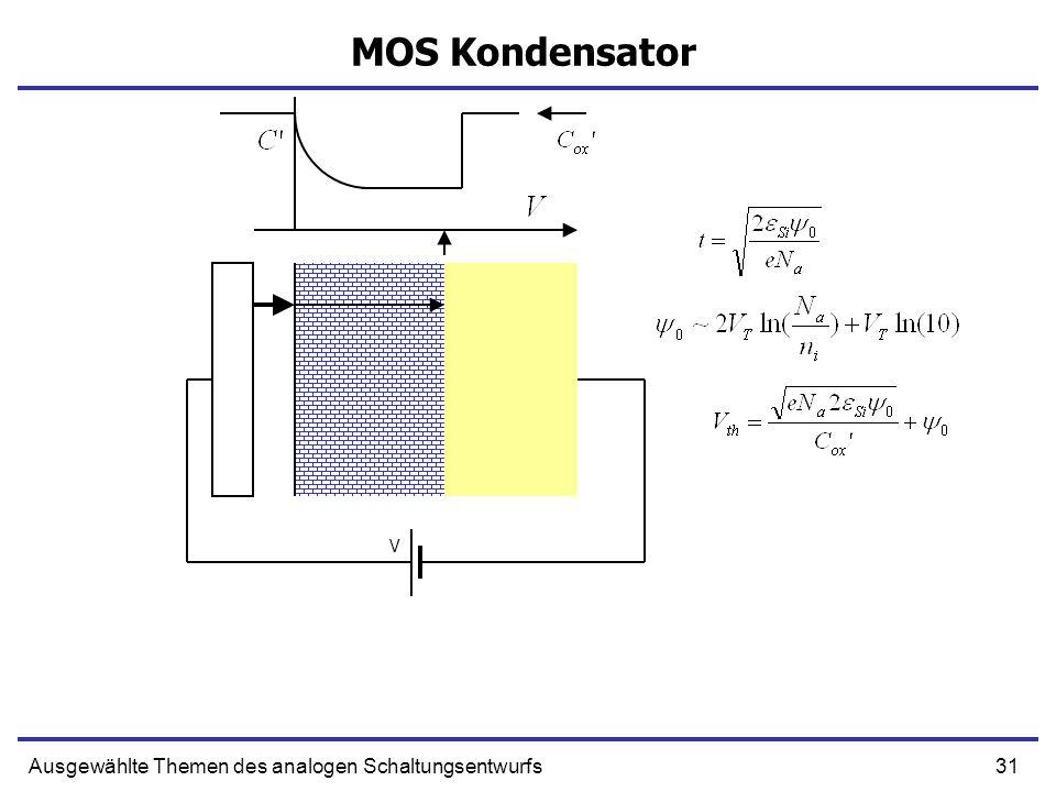 31Ausgewählte Themen des analogen Schaltungsentwurfs MOS Kondensator V