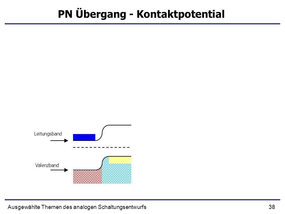 38Ausgewählte Themen des analogen Schaltungsentwurfs PN Übergang - Kontaktpotential Leitungsband Valenzband
