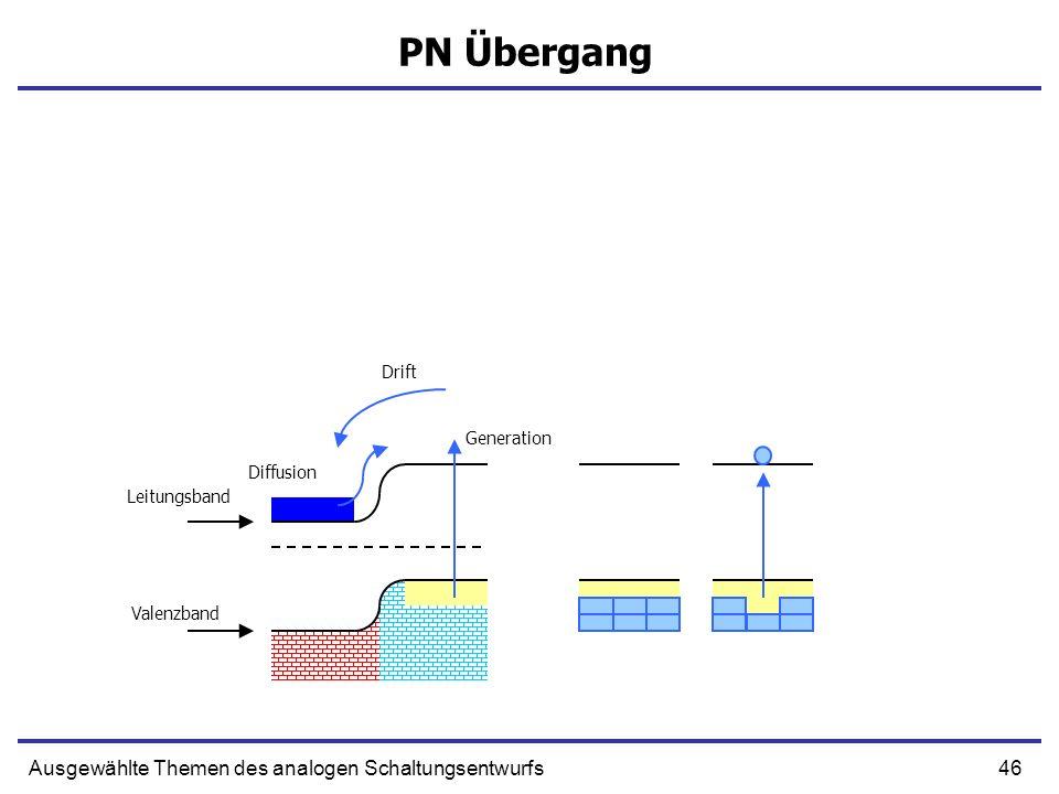 46Ausgewählte Themen des analogen Schaltungsentwurfs PN Übergang Leitungsband Valenzband Drift Generation Diffusion