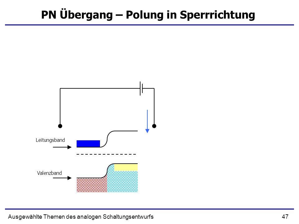 47Ausgewählte Themen des analogen Schaltungsentwurfs PN Übergang – Polung in Sperrrichtung Leitungsband Valenzband