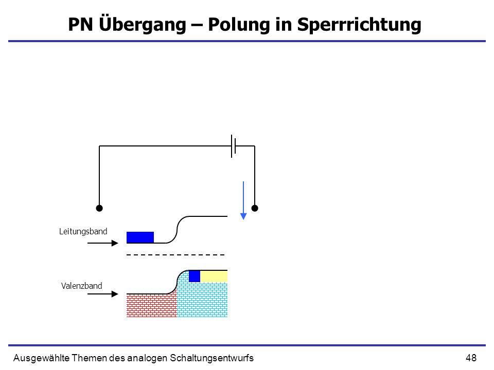 48Ausgewählte Themen des analogen Schaltungsentwurfs PN Übergang – Polung in Sperrrichtung Leitungsband Valenzband
