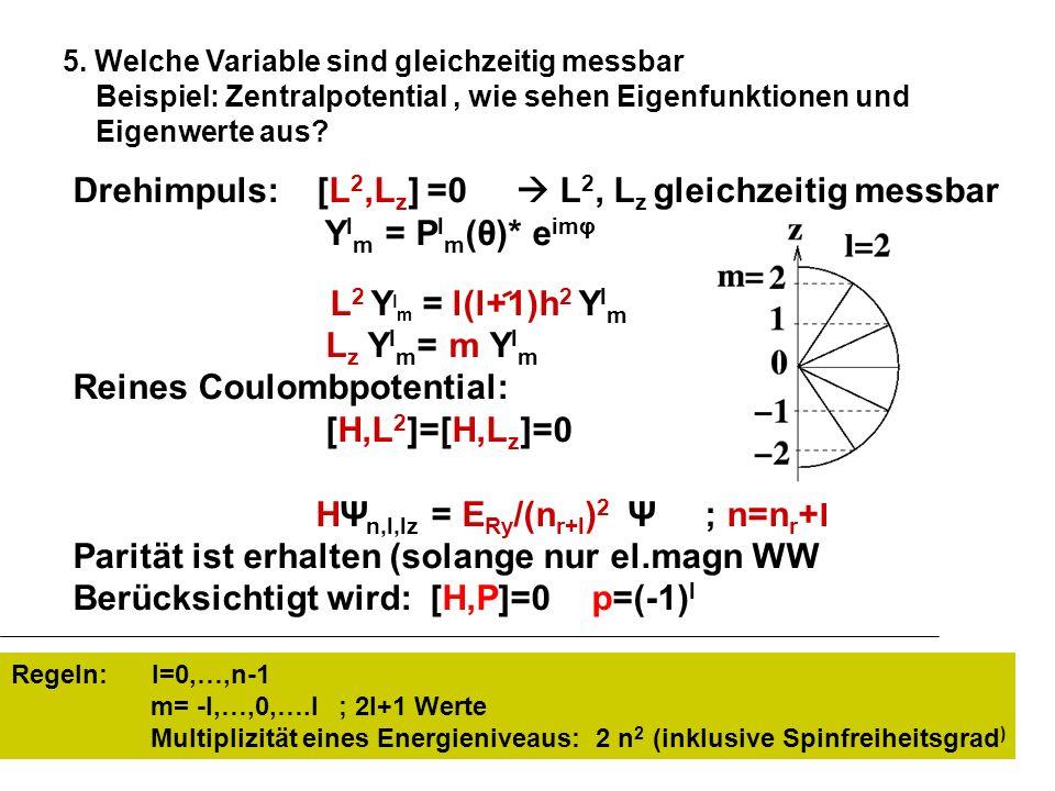 Drehimpuls: [L 2,L z ] =0 L 2, L z gleichzeitig messbar Y l m = P l m (θ)* e imφ L 2 Y l m = l(l+1)h 2 Y l m L z Y l m = m Y l m Reines Coulombpotenti