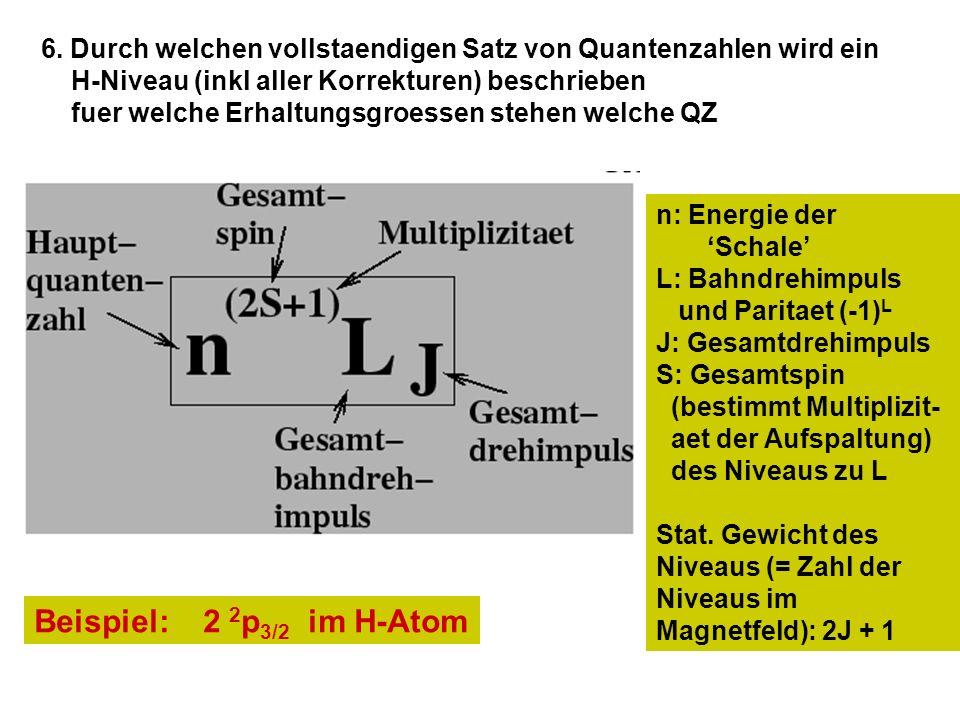 6. Durch welchen vollstaendigen Satz von Quantenzahlen wird ein H-Niveau (inkl aller Korrekturen) beschrieben fuer welche Erhaltungsgroessen stehen we