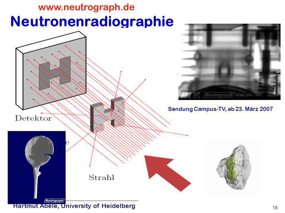 Hartmut Abele, University of Heidelberg 17 Technische Entwicklungen FIRMENGRÜNDUNGEN: 2001 SDH Neutronenoptik H. Haese 2007 CASCADE große superschnell