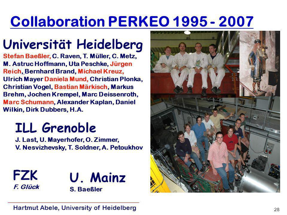 Hartmut Abele, University of Heidelberg 27 Recommended value for lambda = -1.2750 0.0009 Calculate SM Lifetime = 882 ± 1.0 s -vs 885.7 ± 0.7 s PDG 200