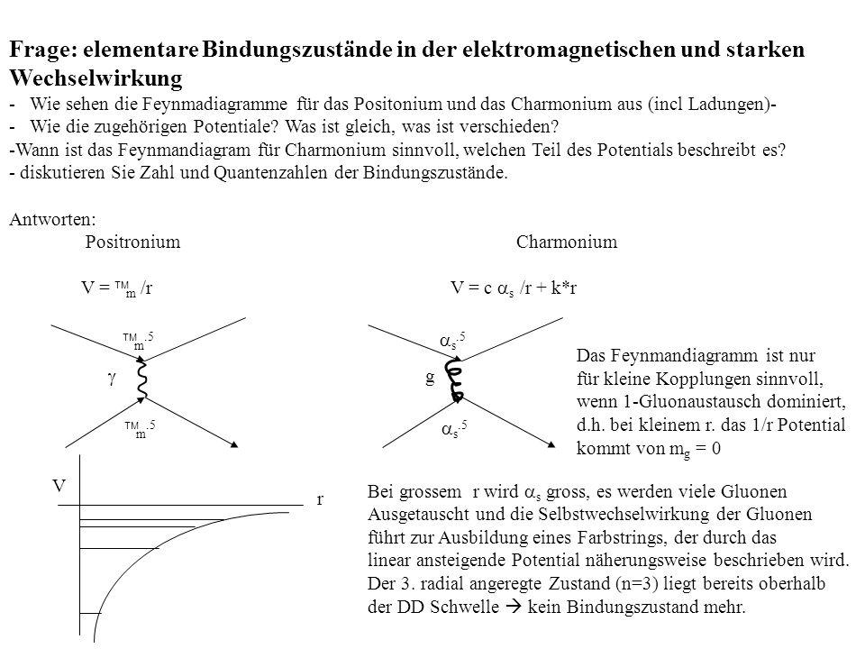 Frage: elementare Bindungszustände in der elektromagnetischen und starken Wechselwirkung - Wie sehen die Feynmadiagramme für das Positonium und das Ch
