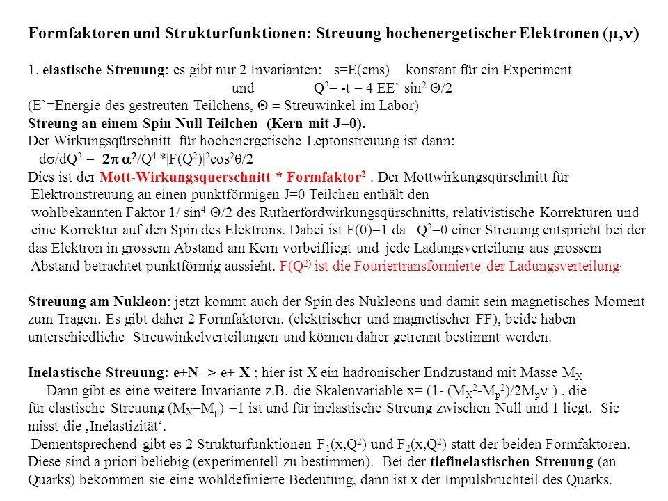 Formfaktoren und Strukturfunktionen: Streuung hochenergetischer Elektronen ( 1. elastische Streuung: es gibt nur 2 Invarianten: s=E(cms) konstant für