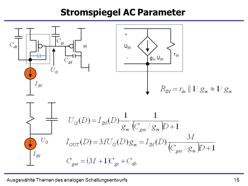 15Ausgewählte Themen des analogen Schaltungsentwurfs Stromspiegel AC Parameter + g m U IN - U IN r ds M