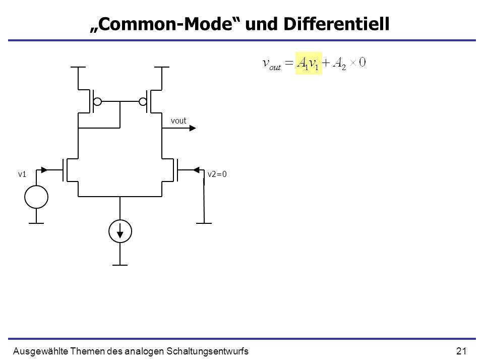 21Ausgewählte Themen des analogen Schaltungsentwurfs Common-Mode und Differentiell v1v2=0 vout