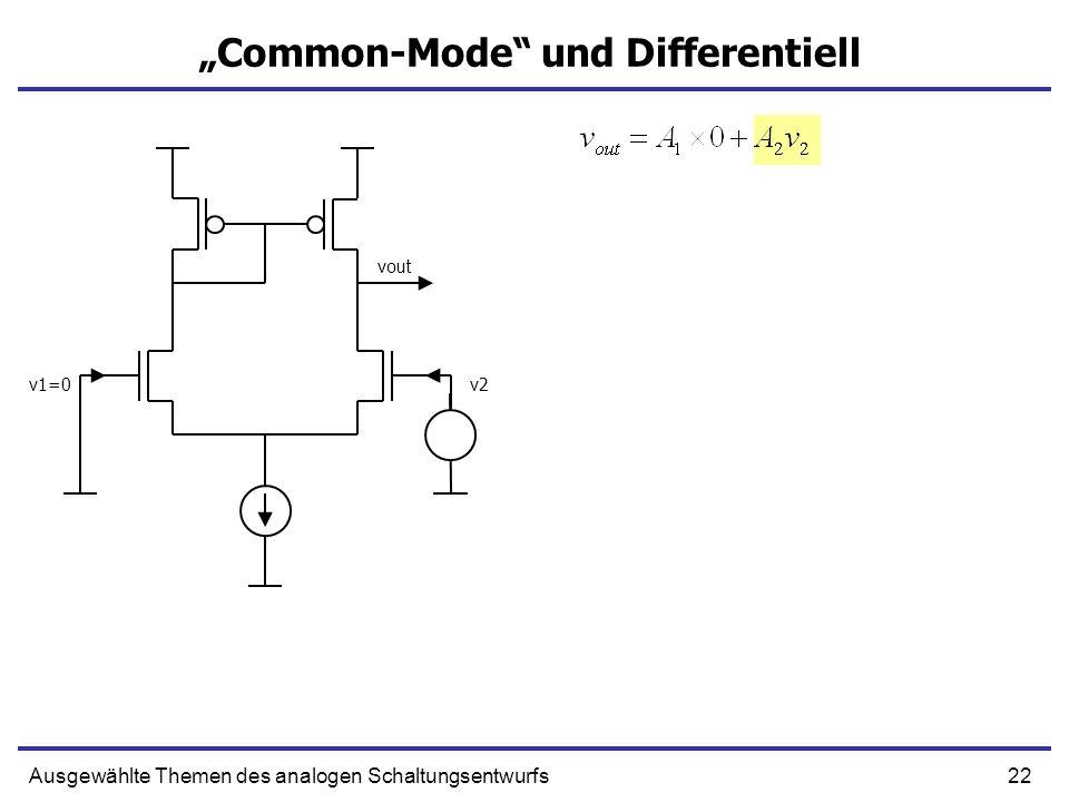 22Ausgewählte Themen des analogen Schaltungsentwurfs Common-Mode und Differentiell v1=0v2 vout