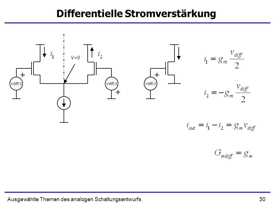 30Ausgewählte Themen des analogen Schaltungsentwurfs Differentielle Stromverstärkung Vdiff/2 V=0 Vdiff/2