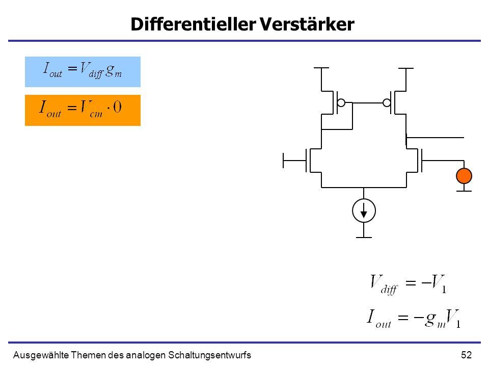 52Ausgewählte Themen des analogen Schaltungsentwurfs Differentieller Verstärker
