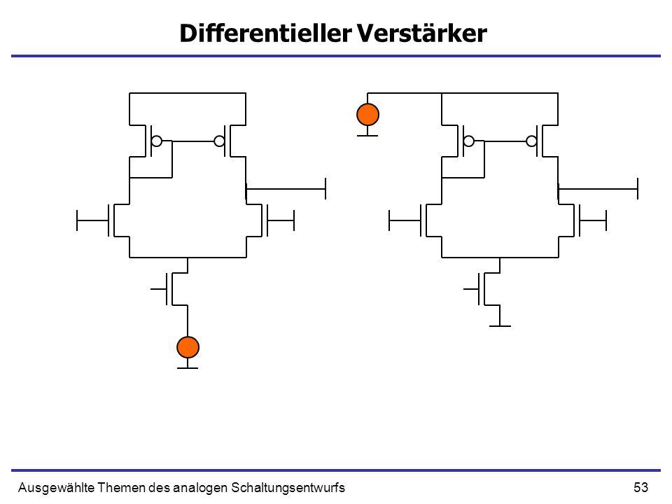 53Ausgewählte Themen des analogen Schaltungsentwurfs Differentieller Verstärker