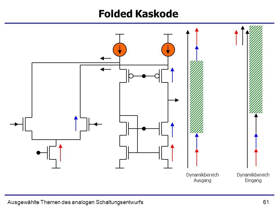 61Ausgewählte Themen des analogen Schaltungsentwurfs Folded Kaskode Dynamikbereich Ausgang Dynamikbereich Eingang