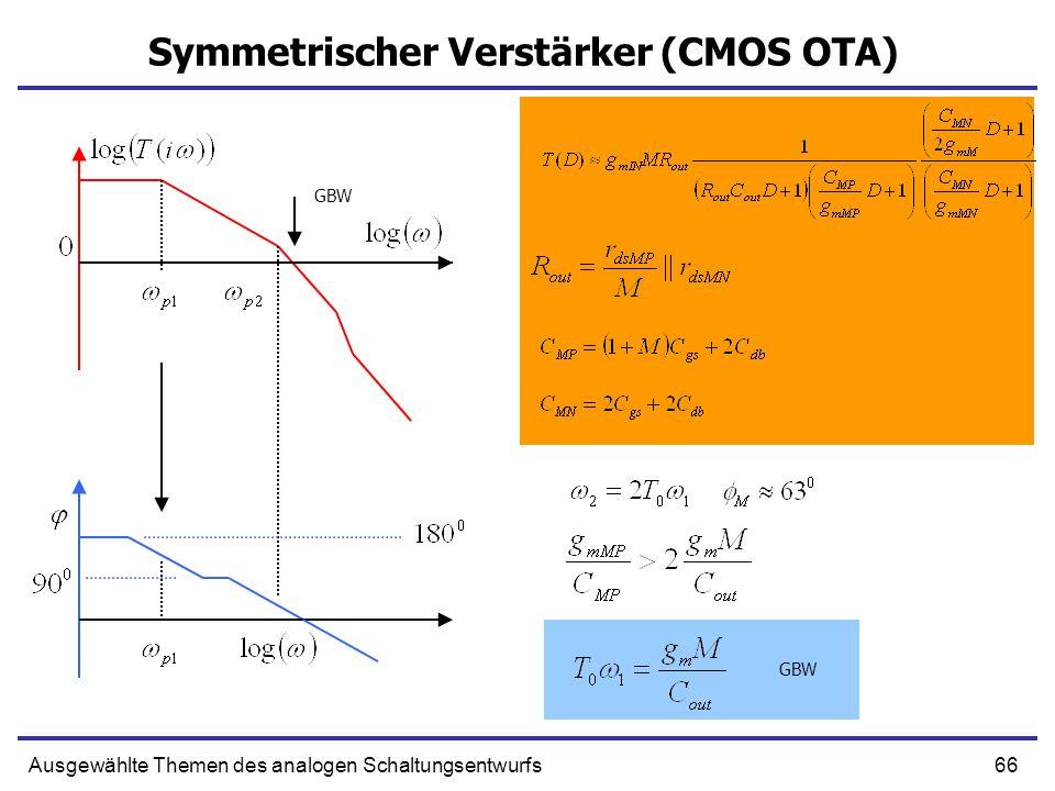 66Ausgewählte Themen des analogen Schaltungsentwurfs Symmetrischer Verstärker (CMOS OTA) GBW