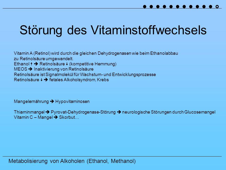 Metabolisierung von Alkoholen (Ethanol, Methanol) Störung des Vitaminstoffwechsels Vitamin A (Retinol) wird durch die gleichen Dehydrogenasen wie beim Ethanolabbau zu Retinolsäure umgewandelt.