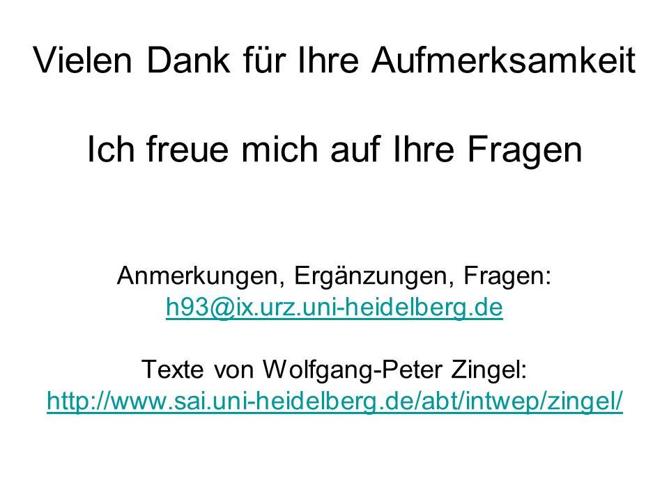 Vielen Dank für Ihre Aufmerksamkeit Ich freue mich auf Ihre Fragen Anmerkungen, Ergänzungen, Fragen: h93@ix.urz.uni-heidelberg.de Texte von Wolfgang-P