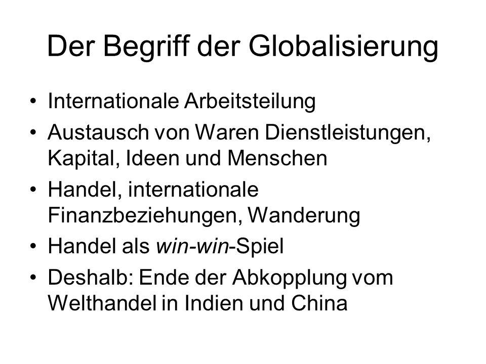 Der Begriff der Globalisierung Internationale Arbeitsteilung Austausch von Waren Dienstleistungen, Kapital, Ideen und Menschen Handel, internationale