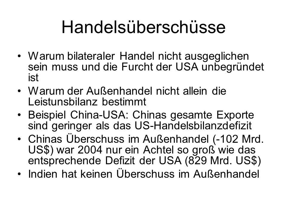 Handelsüberschüsse Warum bilateraler Handel nicht ausgeglichen sein muss und die Furcht der USA unbegründet ist Warum der Außenhandel nicht allein die