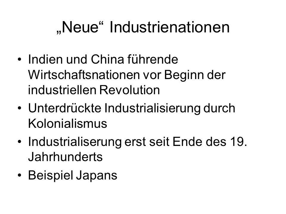 Neue Industrienationen Indien und China führende Wirtschaftsnationen vor Beginn der industriellen Revolution Unterdrückte Industrialisierung durch Kol