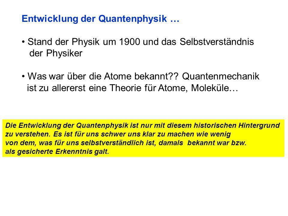 Entwicklung der Quantenphysik … Stand der Physik um 1900 und das Selbstverständnis der Physiker Was war über die Atome bekannt?.