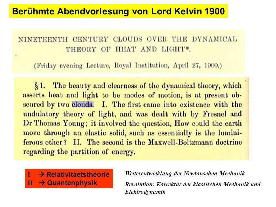 Berühmte Abendvorlesung von Lord Kelvin 1900 I Relativitaetstheorie II Quantenphysik Weiterentwicklung der Newtonschen Mechanik Revolution: Korrektur der klassischen Mechanik und Elektrodynamik