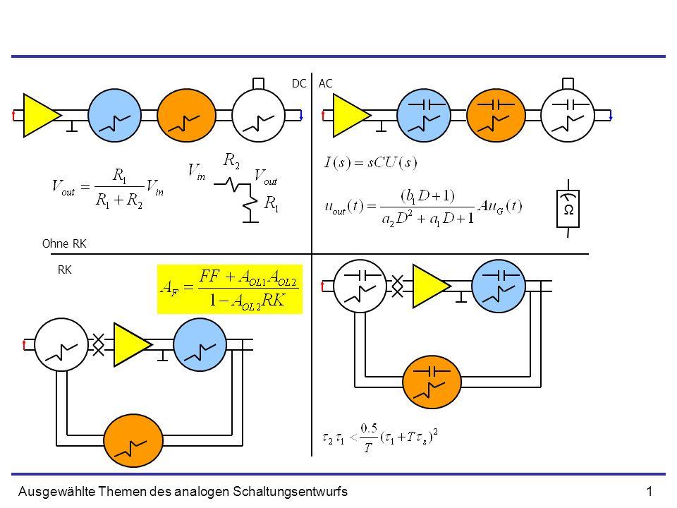 2Ausgewählte Themen des analogen Schaltungsentwurfs Testschaltungen für Feedbackanalyse AOL1 – Gain am EingangsnetzAOL2 – aktive Verstärkung RKFF T - Schleifenverstärkung Messpunkt - blau Testquelle - rot Kurzschluss