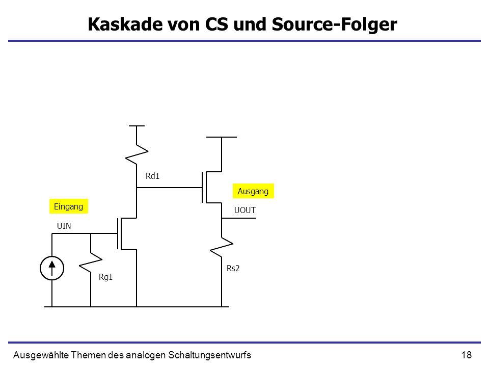 19Ausgewählte Themen des analogen Schaltungsentwurfs Kaskade von CS und Source-Folger UIN UOUT Ausgang Eingang DC Verstärkung Dominante Zeitkonstante Die Lastkapazität wird gedämpft, der Generator sieht die Kapazität nicht Rg1 Rd1 Rs2 DC Verstärkung wie beim common-source Verstärker – aber sie hängt vom Lastwiderstand Rs2 nicht ab.