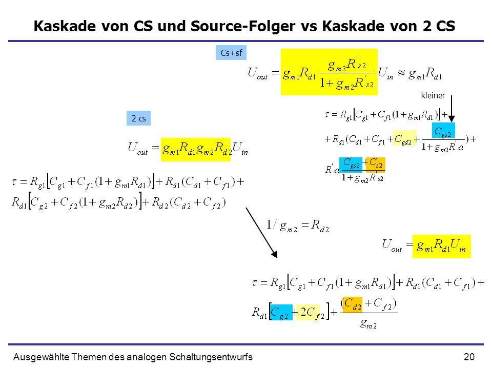 21Ausgewählte Themen des analogen Schaltungsentwurfs Kaskode UIN UOUT Ausgang Eingang Rg1 Rc1 UIN UOUT Rg1 Rc1 Cs2 Cd2 Cg1 Cf1 Cd1 Source und Bulk sind getrennt