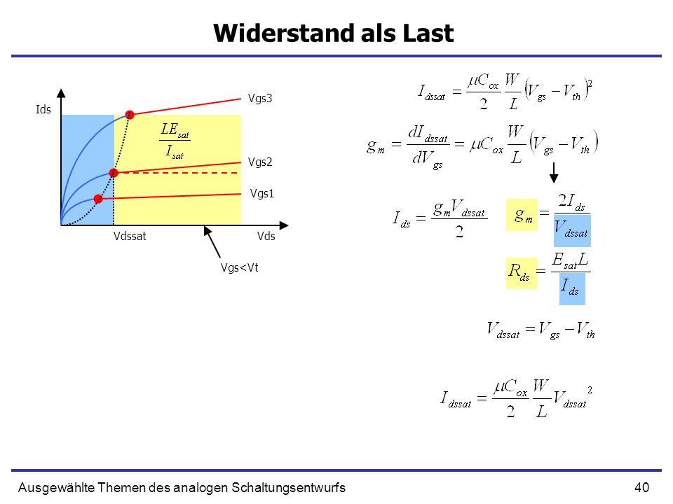 41Ausgewählte Themen des analogen Schaltungsentwurfs Stromquelle als Last V I Vin Vout TL