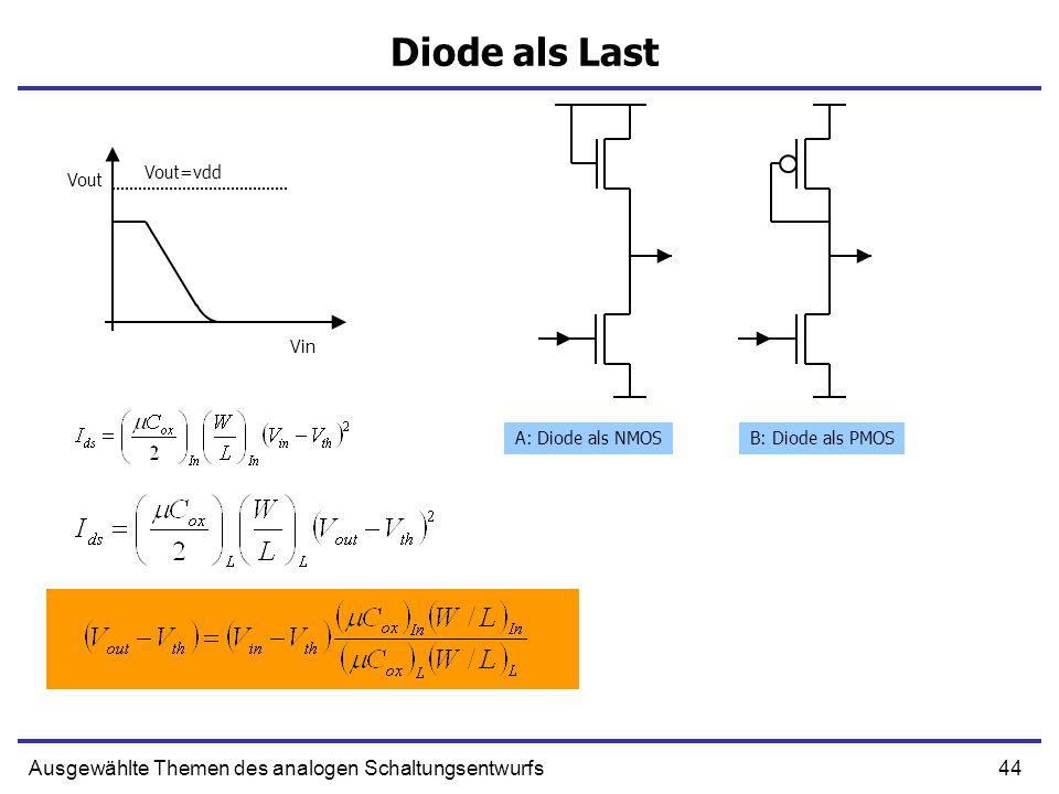45Ausgewählte Themen des analogen Schaltungsentwurfs Linearer Spannung-Strom Wandler Versuchen wir die Kennlinie mithilfe einer Rückkopplung zu linearisieren
