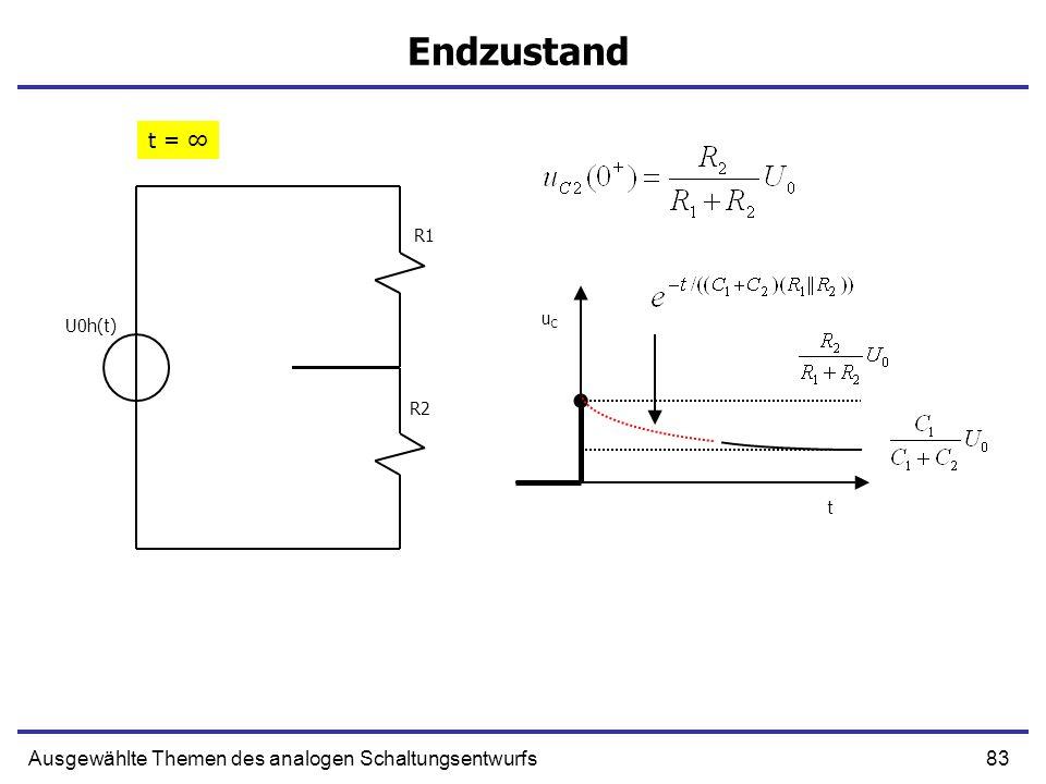 84Ausgewählte Themen des analogen Schaltungsentwurfs Beispiel (2) R1 R2 C1 C2 U0h(t) Nur ein unabhängiger Kondensator.