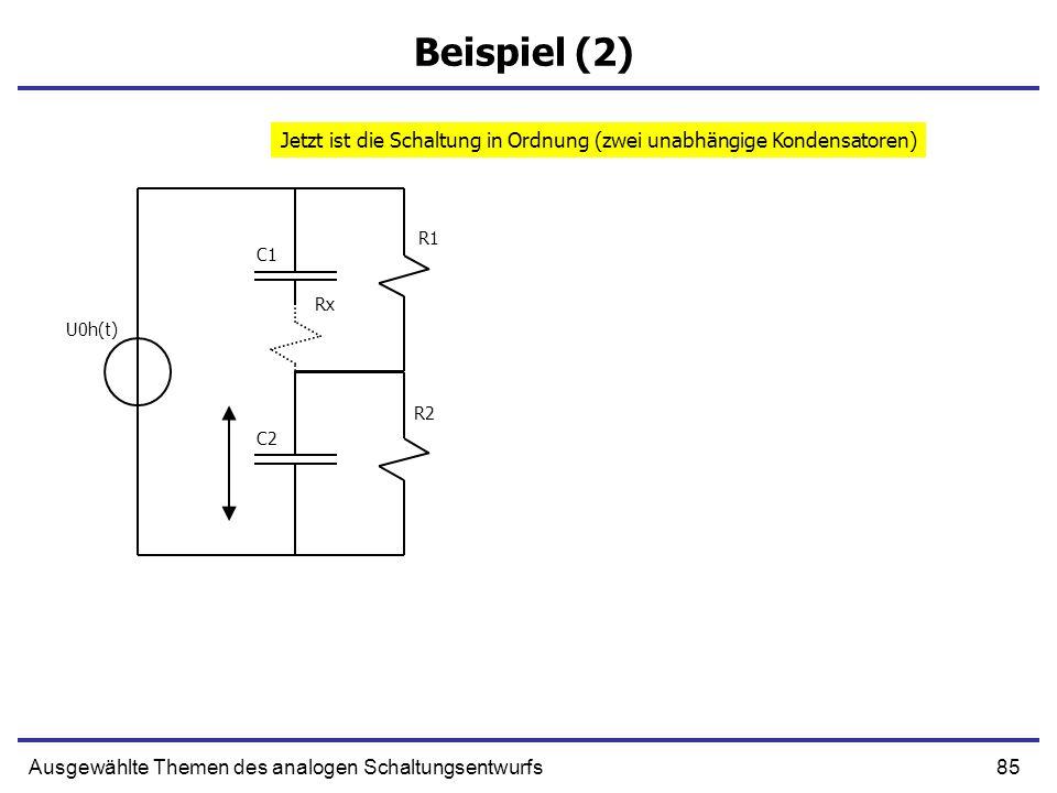86Ausgewählte Themen des analogen Schaltungsentwurfs Beispiel (2) Die Differentialgleichung hat die Form Es gilt (nach der Formel von Folie 39 und 40): R1 R2 C1 C2 U0h(t) Rx wir benutzten Rx = 0.