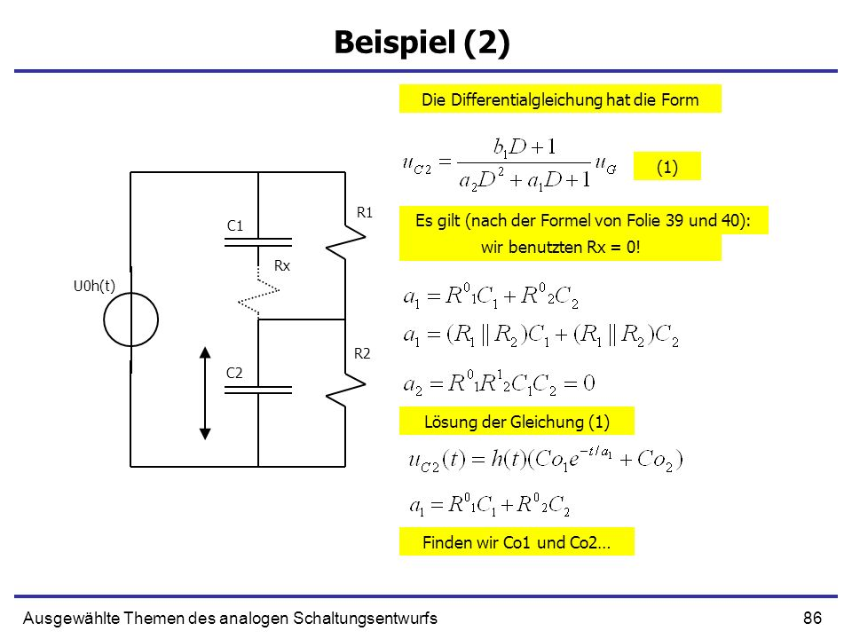 87Ausgewählte Themen des analogen Schaltungsentwurfs Anfangsbedingung (1) R1 R2 C1 C2 U0h(t) t = 0 + Großer Strom