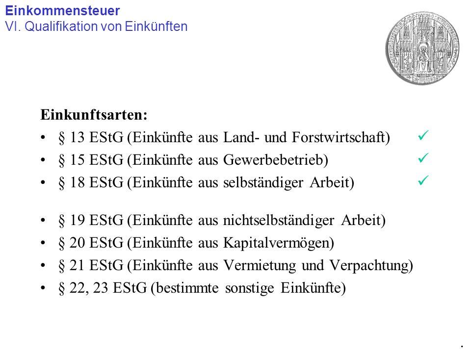 Einkunftsarten: § 13 EStG (Einkünfte aus Land- und Forstwirtschaft) § 15 EStG (Einkünfte aus Gewerbebetrieb) § 18 EStG (Einkünfte aus selbständiger Ar