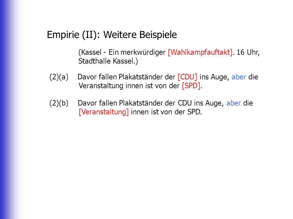 Empirie (II): Weitere Beispiele (Kassel - Ein merkwürdiger [Wahlkampfauftakt]. 16 Uhr, Stadthalle Kassel.) (2)(a) Davor fallen Plakatständer der [CDU]