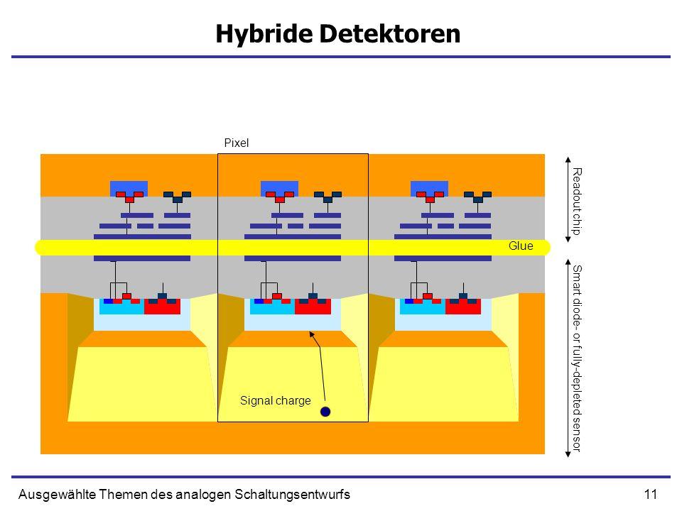 11Ausgewählte Themen des analogen Schaltungsentwurfs Hybride Detektoren Smart diode- or fully-depleted sensor Readout chip Pixel Glue Signal charge