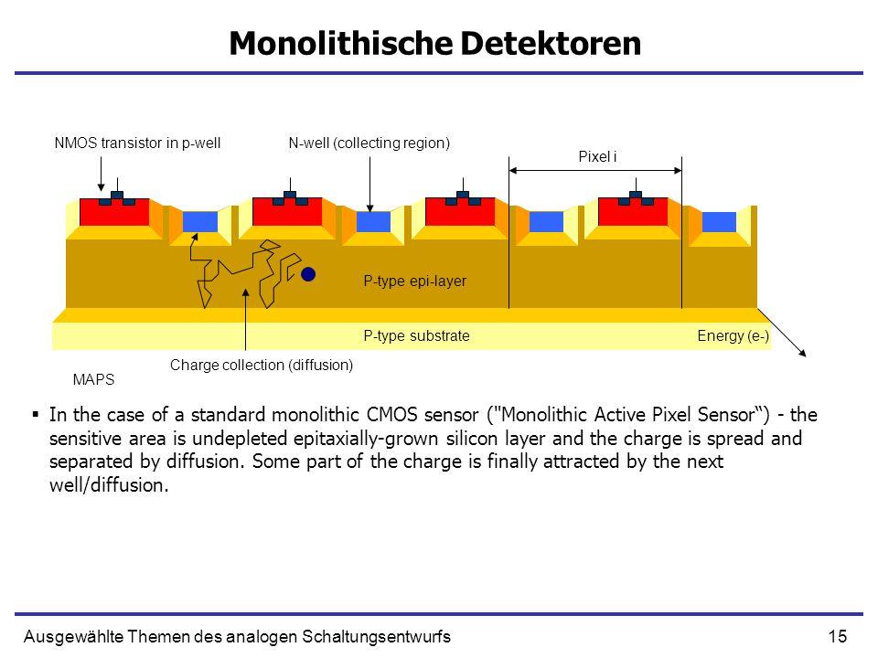 15Ausgewählte Themen des analogen Schaltungsentwurfs Monolithische Detektoren In the case of a standard monolithic CMOS sensor (
