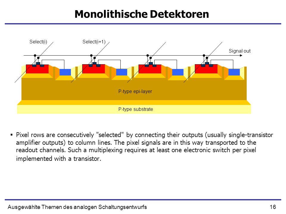 16Ausgewählte Themen des analogen Schaltungsentwurfs Monolithische Detektoren Pixel rows are consecutively