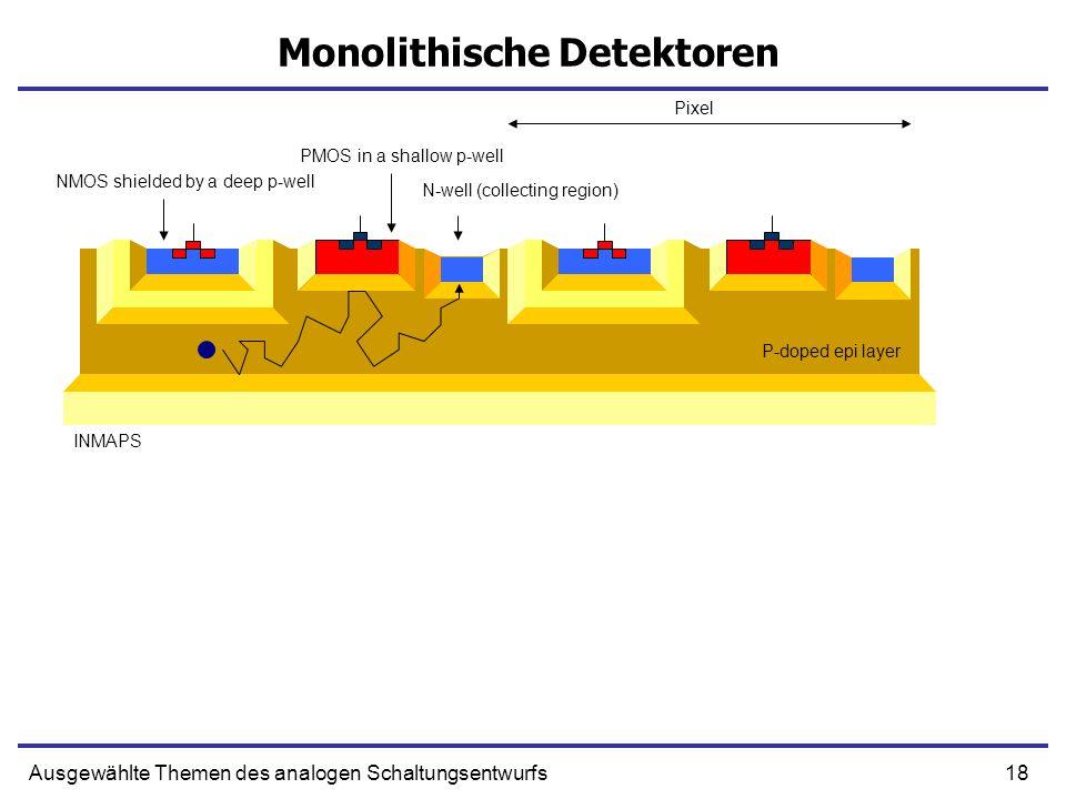 18Ausgewählte Themen des analogen Schaltungsentwurfs Monolithische Detektoren INMAPS NMOS shielded by a deep p-well PMOS in a shallow p-well N-well (c