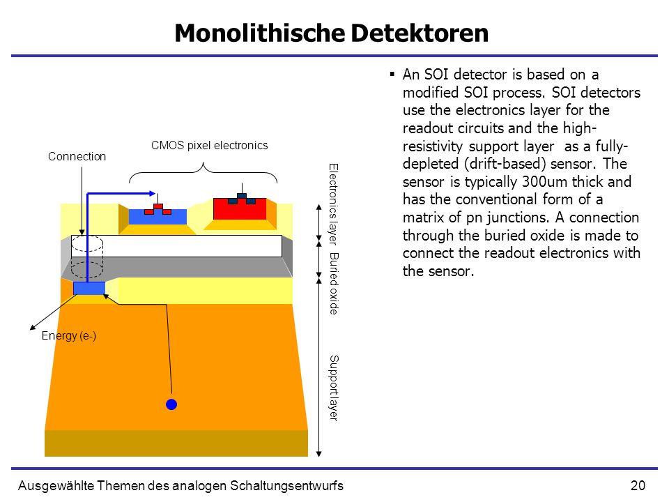 20Ausgewählte Themen des analogen Schaltungsentwurfs Monolithische Detektoren An SOI detector is based on a modified SOI process. SOI detectors use th