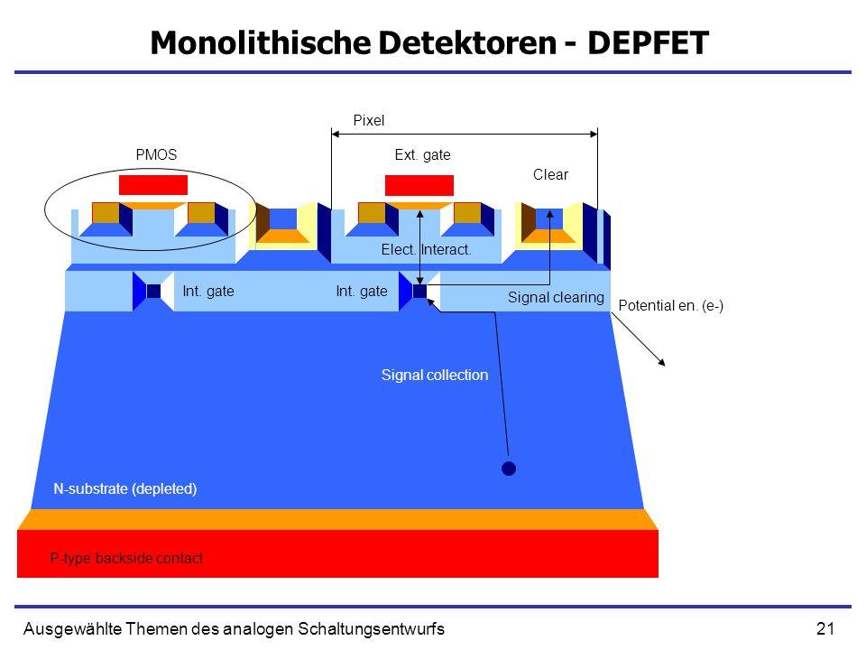 21Ausgewählte Themen des analogen Schaltungsentwurfs Monolithische Detektoren - DEPFET Pixel PMOSExt. gate Int. gate Clear Signal collection Signal cl